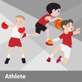 Διανυσματικά κινούμενα σχέδια αθλητικού αθλητισμού Στοκ Φωτογραφίες