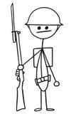 Διανυσματικά κινούμενα σχέδια Stickman του βρετανικού WW1 στρατιώτη WWI Στοκ Εικόνες