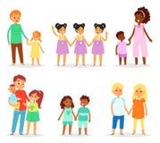 Διανυσματικά κορίτσια αδελφών αδελφών χαρακτήρων παιδιών αμφιθαλών αδερφικά μαζί και αδελφικά δίδυμα αγοριών στην οικογένεια ελεύθερη απεικόνιση δικαιώματος