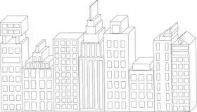 Διανυσματικά κτήρια διάνυσμα οριζόντων σχεδίου πόλεων ανασκόπησής σας Απόσπασμα αρχιτεκτονικής Στοκ Εικόνες