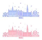 Διανυσματικά κτήρια πόλεων του Βελγίου οριζόντων των Βρυξελλών Στοκ Εικόνες