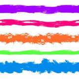 Διανυσματικά κτυπήματα χρωμάτων Grunge, ζωηρόχρωμο σύνολο, φωτεινοί παφλασμοί μελανιού χρωμάτων που απομονώνονται Στοκ Φωτογραφία