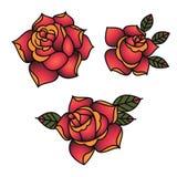 Διανυσματικά κόκκινα τριαντάφυλλα δερματοστιξιών Oldschool παραδοσιακά με τα φύλλα στοκ φωτογραφία με δικαίωμα ελεύθερης χρήσης