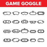 Διανυσματικά λεπτά εικονίδια γραμμών προστατευτικών διόπτρων παιχνιδιών καθορισμένα απεικόνιση αποθεμάτων
