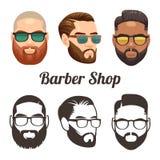 Διανυσματικά λογότυπα κινούμενων σχεδίων και περιλήψεων Barbershop με τα μοντέρνα άτομα hipster απεικόνιση αποθεμάτων