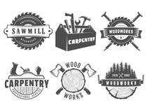 Διανυσματικά λογότυπα ξυλουργικής διανυσματική απεικόνιση