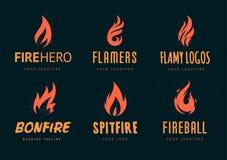 Διανυσματικά λογότυπα πυρκαγιάς Στοκ Εικόνες