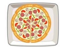 Διανυσματικά μανιτάρια πιτσών στο άσπρο υπόβαθρο τοπ πιάτων διανυσματική απεικόνιση