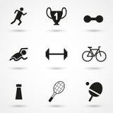 Διανυσματικά μαύρα αθλητικά εικονίδια που τίθενται σε γκρίζο Στοκ Εικόνα