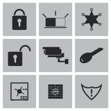 Διανυσματικά μαύρα εικονίδια ασφάλειας καθορισμένα Στοκ Εικόνες