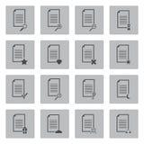 Διανυσματικά μαύρα εικονίδια εγγράφων καθορισμένα Στοκ φωτογραφία με δικαίωμα ελεύθερης χρήσης