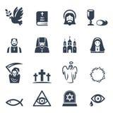 Διανυσματικά μαύρα εικονίδια θρησκείας καθορισμένα Στοκ Εικόνες