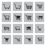 Διανυσματικά μαύρα εικονίδια κάρρων αγορών καθορισμένα Στοκ εικόνες με δικαίωμα ελεύθερης χρήσης