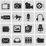 Διανυσματικά μαύρα εικονίδια μέσων που τίθενται σε γκρίζο Στοκ εικόνες με δικαίωμα ελεύθερης χρήσης