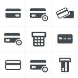 Διανυσματικά μαύρα εικονίδια πιστωτικών κάρρων καθορισμένα Στοκ φωτογραφίες με δικαίωμα ελεύθερης χρήσης