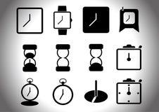 Διανυσματικά μαύρα εικονίδια ρολογιών καθορισμένα Στοκ Εικόνες