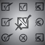 Διανυσματικά μαύρα εικονίδια σημαδιών ελέγχου καθορισμένα Στοκ φωτογραφίες με δικαίωμα ελεύθερης χρήσης