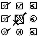 Διανυσματικά μαύρα εικονίδια σημαδιών ελέγχου καθορισμένα Στοκ Φωτογραφία