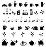 Διανυσματικά μαύρα εικονίδια τσαγιού καθορισμένα Στοκ εικόνα με δικαίωμα ελεύθερης χρήσης