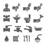 Διανυσματικά μαύρα εικονίδια υδραυλικών καθορισμένα Στοκ φωτογραφία με δικαίωμα ελεύθερης χρήσης