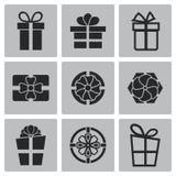 Διανυσματικά μαύρα εικονίδια δώρων καθορισμένα Στοκ Φωτογραφία