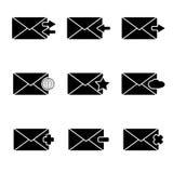 Διανυσματικά μαύρα εικονίδια messege καθορισμένα Στοκ φωτογραφία με δικαίωμα ελεύθερης χρήσης