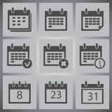 Διανυσματικά μαύρα ημερολογιακά εικονίδια καθορισμένα Στοκ φωτογραφία με δικαίωμα ελεύθερης χρήσης
