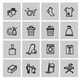Διανυσματικά μαύρα καθαρίζοντας εικονίδια καθορισμένα Στοκ εικόνα με δικαίωμα ελεύθερης χρήσης