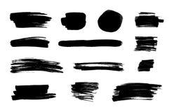 Διανυσματικά μαύρα κτυπήματα μελανιού, απομονωμένο σύνολο υποβάθρου, στοιχεία σχεδίου διανυσματική απεικόνιση