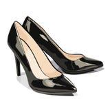 Διανυσματικά μαύρα παπούτσια με τα τακούνια Στοκ Φωτογραφία