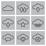 Διανυσματικά μαύρα σύννεφα Ιστός εικονιδίων και κινητός Στοκ εικόνα με δικαίωμα ελεύθερης χρήσης