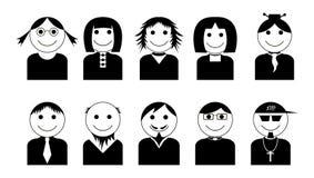 Διανυσματικά μαύρος-άσπρα εικονίδια χαρακτήρων καθορισμένα Στοκ Φωτογραφίες