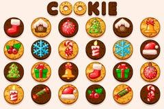 Διανυσματικά μεγάλα καθορισμένα Χριστούγεννα και νέα μπισκότα έτους, εικονίδια συμβόλων διακοπών Διανυσματικό ψήσιμο κινούμενων σ ελεύθερη απεικόνιση δικαιώματος