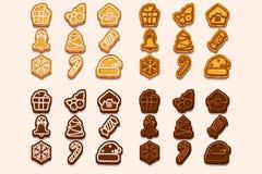 Διανυσματικά μεγάλα καθορισμένα Χριστούγεννα και νέα μπισκότα σοκολάτας και μπισκότων έτους, εικονίδια συμβόλων διακοπών Διανυσμα διανυσματική απεικόνιση