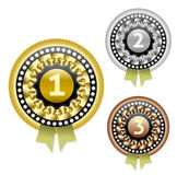 Διανυσματικά μετάλλια χρυσού, ασημιών και χαλκού καθορισμένα ελεύθερη απεικόνιση δικαιώματος