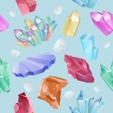 Διανυσματικά μεταλλεύματα σχεδίων, κρύσταλλα, πολύτιμοι λίθοι, διαμάντι Στοκ Φωτογραφίες