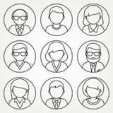 Διανυσματικά μονο εικονίδια ανθρώπων γραμμών καθορισμένα Στοκ Φωτογραφίες