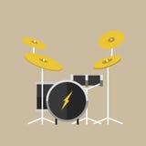 Διανυσματικά μουσικά όργανα κρούσης drumkit στο επίπεδο παραδοσιακό εθνικό τύμπανο σκηνών συναυλίας ύφους κλασσικό ορχηστρικό ελεύθερη απεικόνιση δικαιώματος