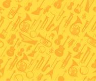 Διανυσματικά μουσικά όργανα στο χρυσό άνευ ραφής σχέδιο διανυσματική απεικόνιση