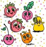 Διανυσματικά μούρα φρούτων που σύρονται στο ύφος κινούμενων σχεδίων ελεύθερη απεικόνιση δικαιώματος