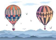 Διανυσματικά μπαλόνια στο άσπρο υπόβαθρο Πολλά διαφορετικά χρωματισμένα ριγωτά μπαλόνια αέρα που πετούν στον καλυμμένο ουρανό Σχέ απεικόνιση αποθεμάτων