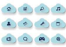 Διανυσματικά μπλε εικονίδια σύννεφων καθορισμένα Στοκ Εικόνα