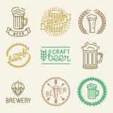 Διανυσματικά λογότυπα μπύρας και ζυθοποιείων τεχνών ελεύθερη απεικόνιση δικαιώματος