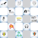Διανυσματικά λογότυπα πλασμάτων κόμματος αστεία καθορισμένα Στοκ Εικόνες