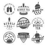 Διανυσματικά λογότυπα τσαγιού φυσαλίδων Στοκ Εικόνες