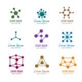Διανυσματικά λογότυπα DNA και μορίων για την τεχνολογία, ιατρική, επιστήμη, χημεία, βιοτεχνολογία διανυσματική απεικόνιση