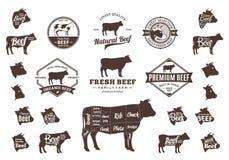 Διανυσματικά λογότυπο βόειου κρέατος, εικονίδια, διαγράμματα και στοιχεία σχεδίου Στοκ Εικόνες