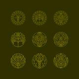 Διανυσματικά οργανικά εικονίδια δέντρων στοκ εικόνα