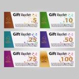 Διανυσματικά, οριζόντια εμβλήματα σχεδιαγράμματος προτύπων αποδείξεων δώρων, πρότυπο καρτών έκπτωσης στοκ εικόνες με δικαίωμα ελεύθερης χρήσης