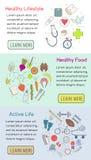Διανυσματικά οριζόντια εμβλήματα των εικονιδίων για το σχέδιο Ιστού σας Στοκ Εικόνες